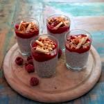 Chia-Pudding mit Kokosmilch und fruchtigem Himbeermousse, gerösteten Mandelstiften und Bananenscheiben
