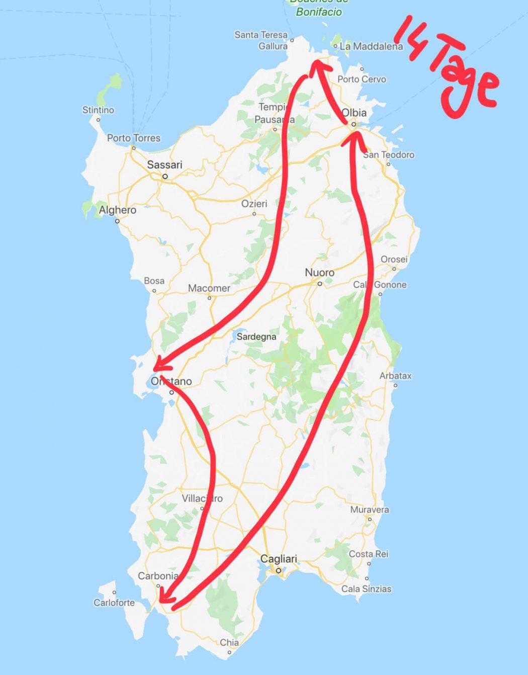Reiseroute durch Sardinien