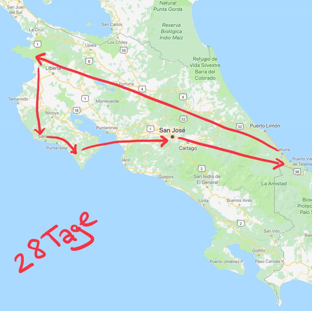 Reiseroute durch Costa Rica