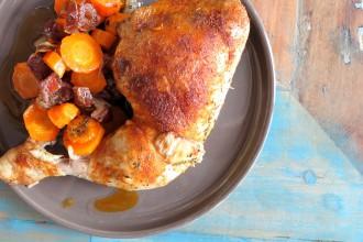 Low Carb Hähnchenschenkel Rezept mit süßem Gemüse
