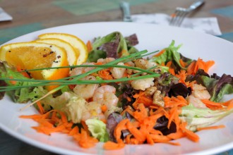Low Carb Sommersalat mit Schrimps