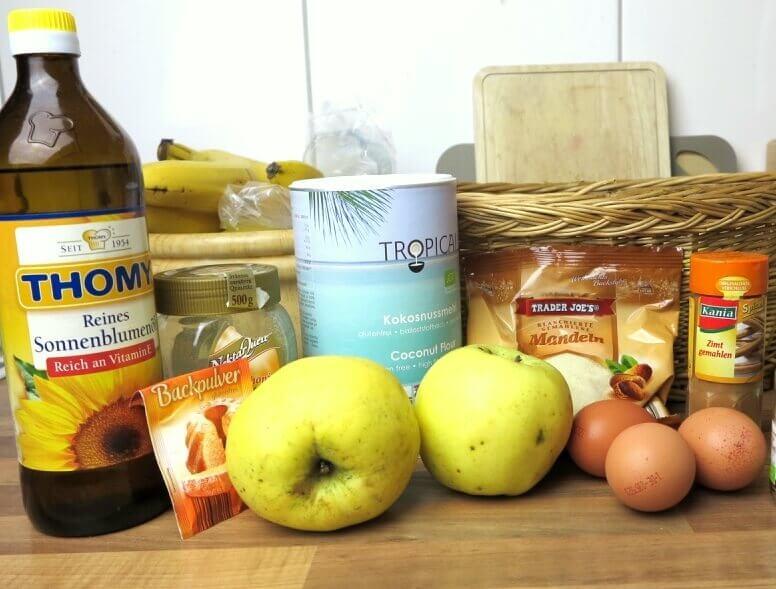 Zutaten für den Apfelkuchen Low Carb