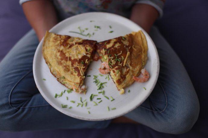 Omelette mit Shrimps - Low Carb Rezept