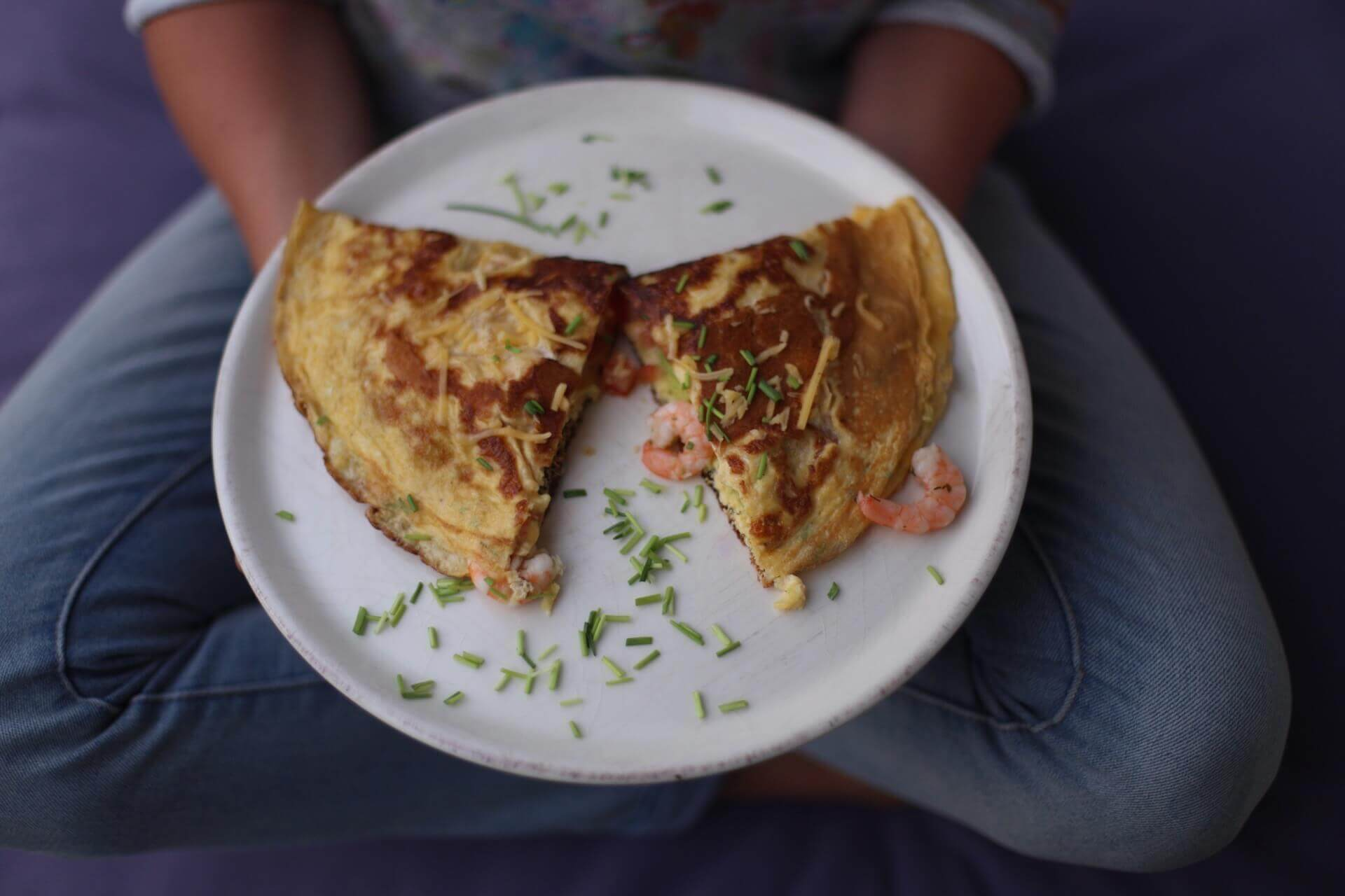 omelette mit shrimps low carb rezept twinfit. Black Bedroom Furniture Sets. Home Design Ideas