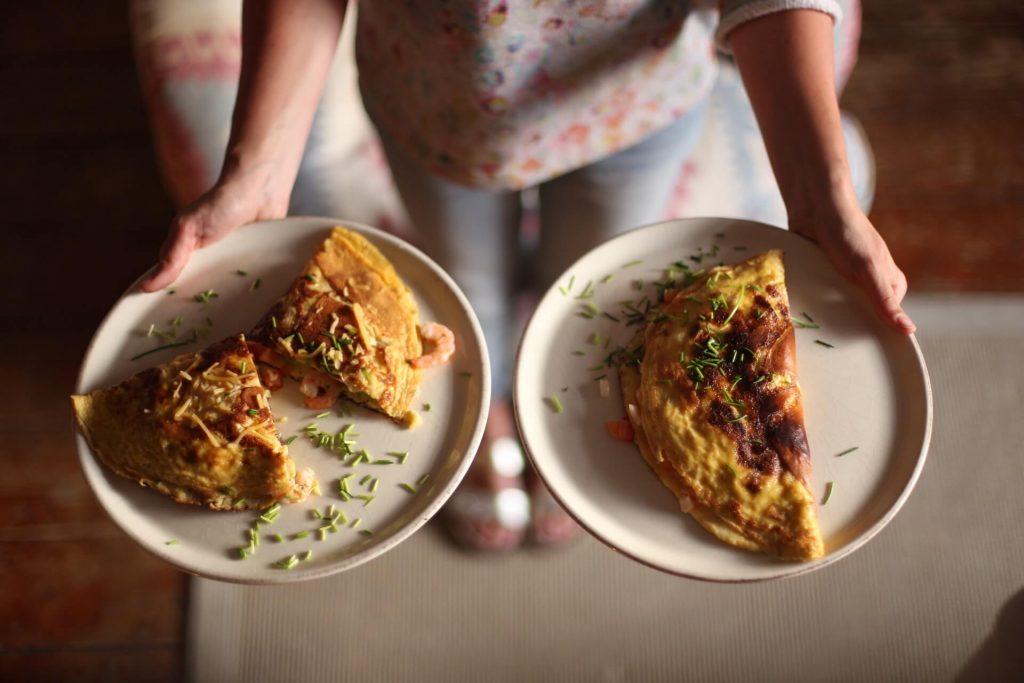 Omelette mit Shrimps