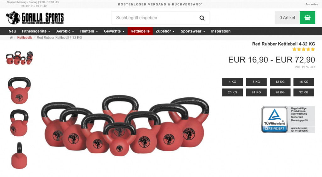 Gorilla Sports Kettlebells - Red Rubber