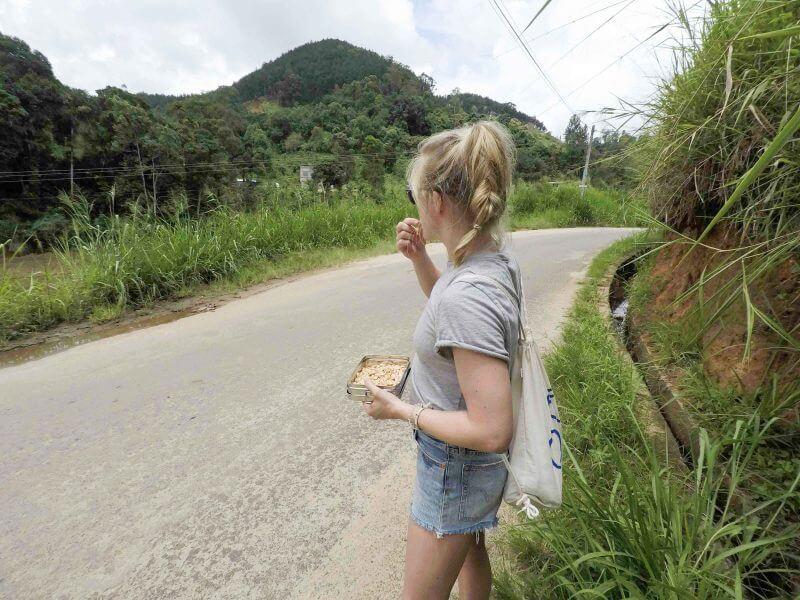 Kurzer Snack auf dem Weg zur Hapewatte Tea Factory